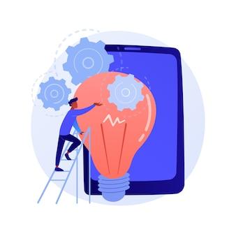 아이디어 구현. 시작, 창의적 사고, 혁신적인 솔루션을 시작합니다. 사업가, 투자자, 관리자 시작 비즈니스 프로젝트.
