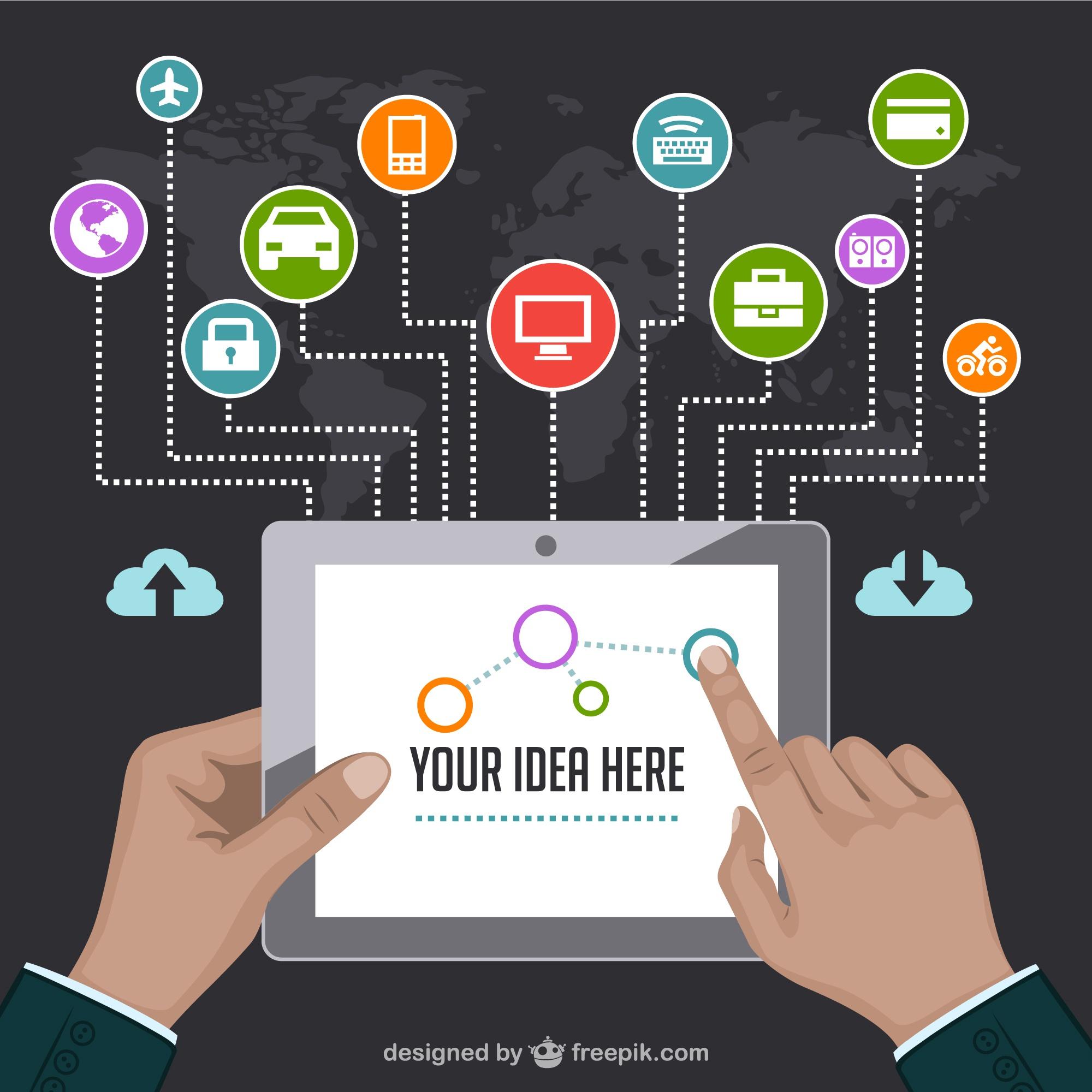 Idea infographic with a tablet and business application