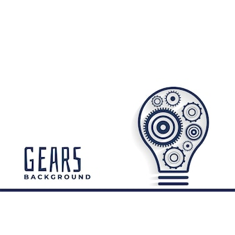 Idea or innovation bulb with gears background