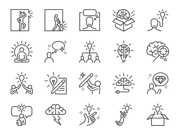 Idea line icon set.