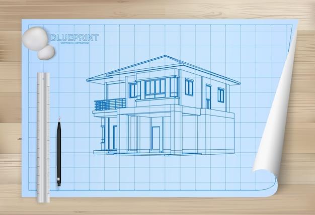 青写真の紙の背景に家のアイデア