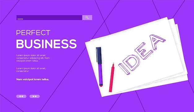 Idea paper concept flyer, web banner, ui header, enter site. grain texture and noise effect.