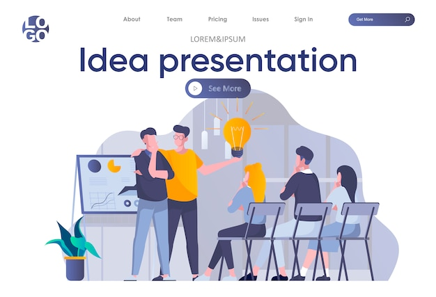 Idea presentation landing page with header. startup team making presentation new great idea before investor in office scene. pitching startup, coworking and teamwork situation flat illustration