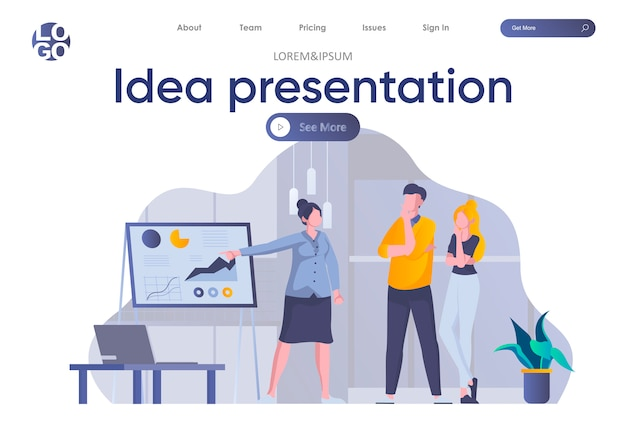 Idea presentation landing page with header. woman making business presentation with diagrams before colleagues in office scene. coworking, teamwork and creativity situation flat illustration.