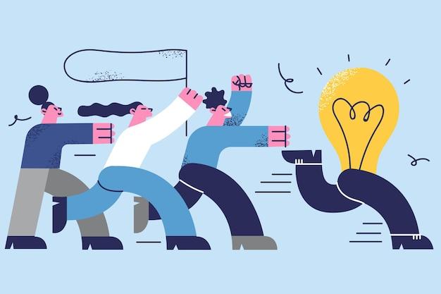 アイデアが逃げ出し、ソリューションのコンセプトを探しています。実行し、電球に追いつくことを試みているビジネスマンの漫画のグループ