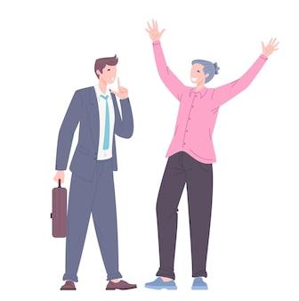 Концепция поиска идеи и сохранение в секрете найденного решения. офисные работники обсуждают рабочий процесс. плоские векторные иллюстрации.
