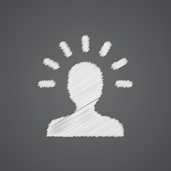 어두운 배경에 고립 된 아이디어 스케치 로고 낙서 아이콘