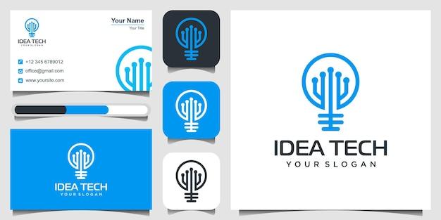 Idea tech 로고 디자인 전구 램프와 회로 기판 결합