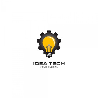 Idea tech with mechanical lamp logo
