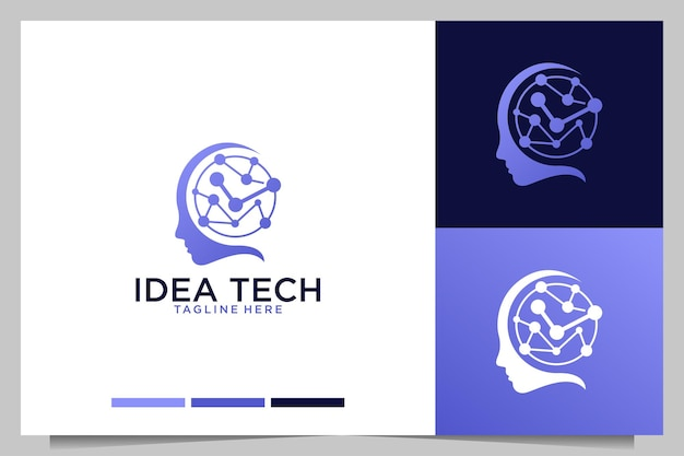 Idea technology with brain logo design