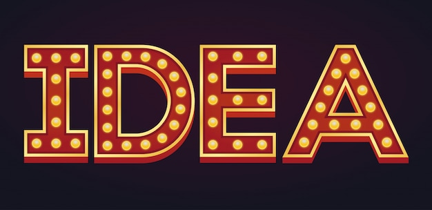 Idea word sign marquee light bulb vintage