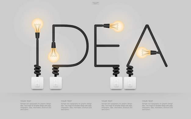 Idea word with illuminated light bulb and switches
