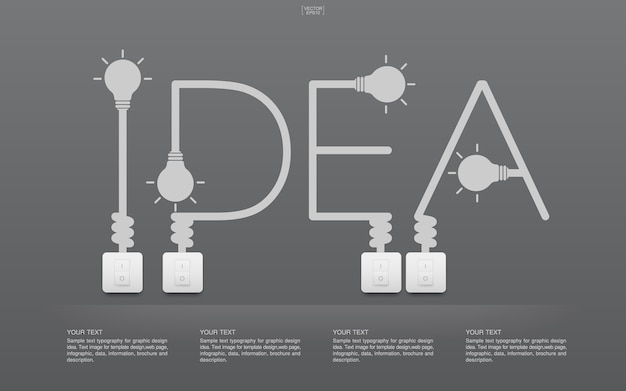 Idea word with light bulb and switches