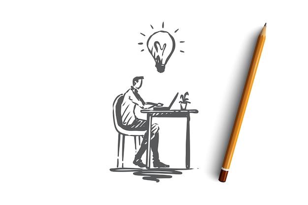 아이디어, 직장, 비즈니스, 노트북, 창의성 개념. 손으로 그린 남자는 노트북 개념 스케치와 함께 작업하는 동안 아이디어가 있습니다. 삽화.