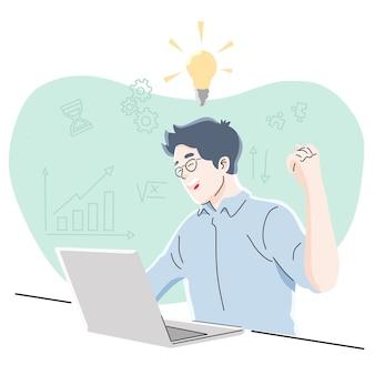 아이디어, 일, 프리랜서, 생각, 성공, 비즈니스 개념.