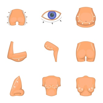 Ideal body shape icons set, cartoon style