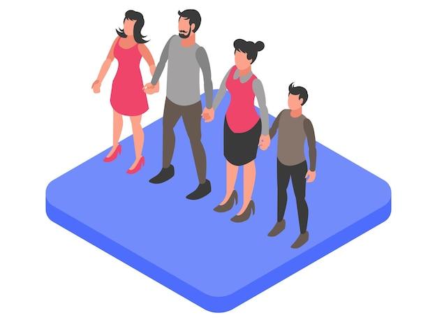 아버지, 어머니, 딸 및 아들을 보여주는 이상적인 가족 구성원