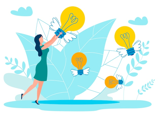 Ideas in air metaphor flat vector illustration