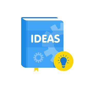 電球のフラットアイコンが付いたアイデアブック。オンラインビジネス教育ベクトルイラスト。