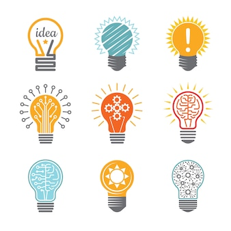 Ideas bulb symbols, creative tech innovation electrical icon for business logotype colorful various