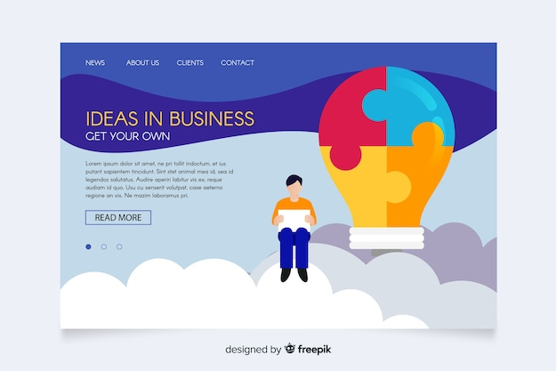 Ideas in business illustrated landing page