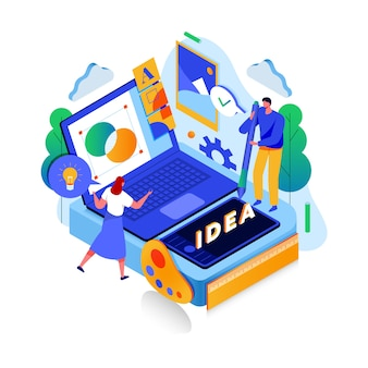 Ideas and creativity isometric concept