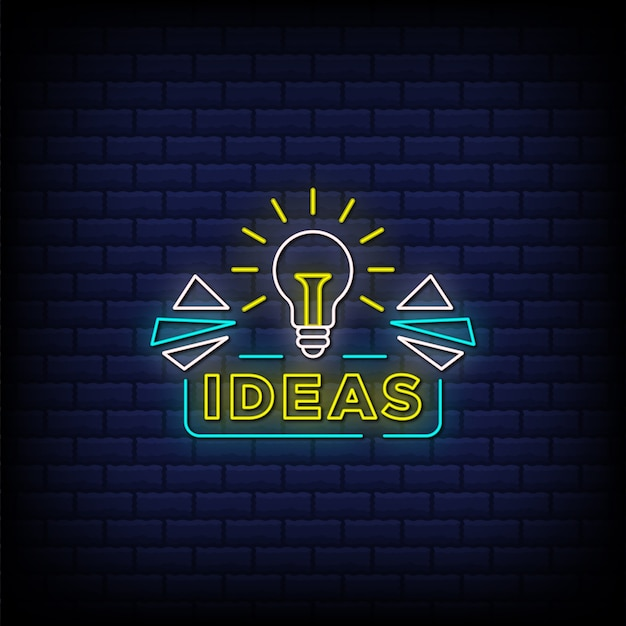 Ideas neon signs style text with a light bulb icon