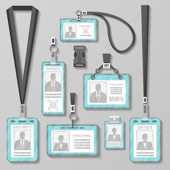 Identification card or badge with lanyard set