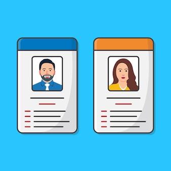남성과 여성의 사진 일러스트와 함께 신분증 또는 id 카드. 개인의 정체성에 대한 아이디어
