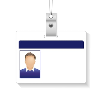 Identification card with photo man isolated white background