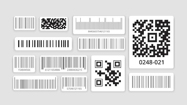 식별 코드. 데이터 스캐너로 스캔하기위한 바코드, 스마트 폰용 qr 코드, 흑백 라벨