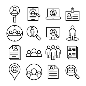 Identification line icons pack