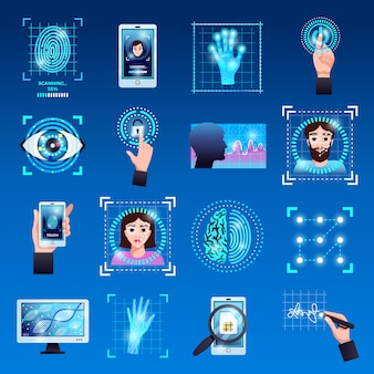 Identification technologies symbols icons set with touch screen fingerprint recognition id systems isolated