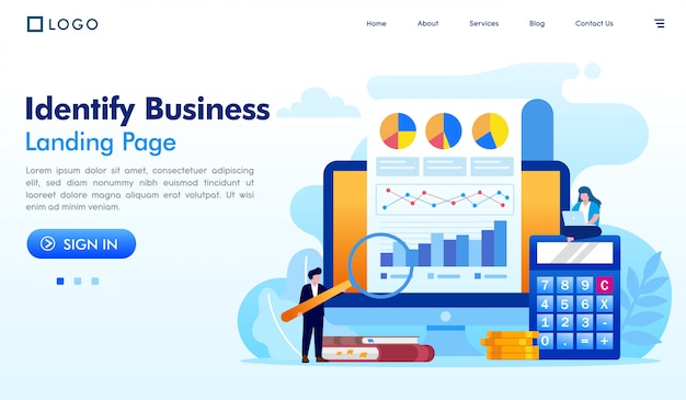 Identify business landing page website illustration vector