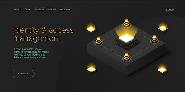 Identity and access management  abstract datacenter or blockchain network mainframe infrastructure