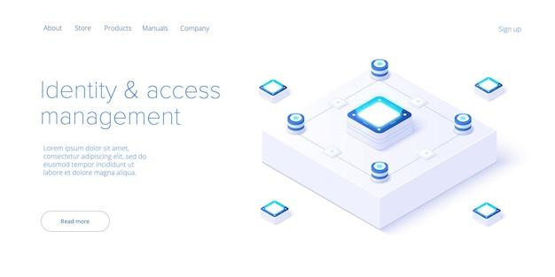 アイソメトリックベクトルデザインのアイデンティティとアクセス管理の図。抽象データセンターまたはブロックチェーン。ネットワークメインフレームインフラストラクチャ。 webバナーレイアウトテンプレート。