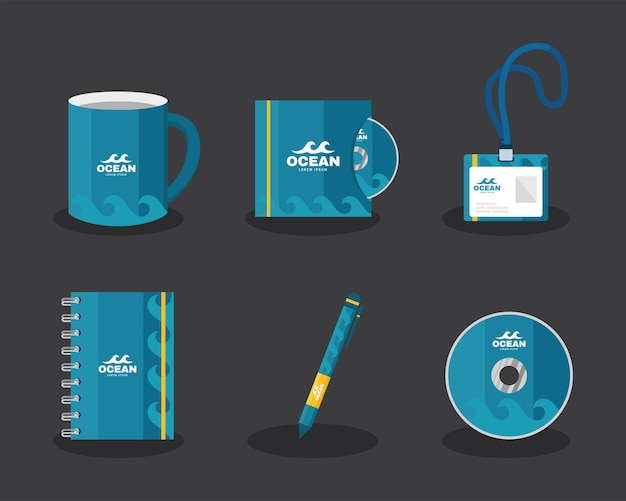 Identity brand six icons