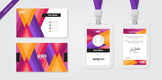 Identity card template and business card