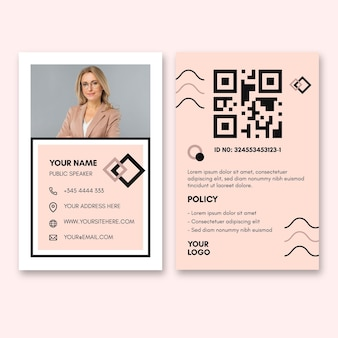 Identity card template for businesswoman