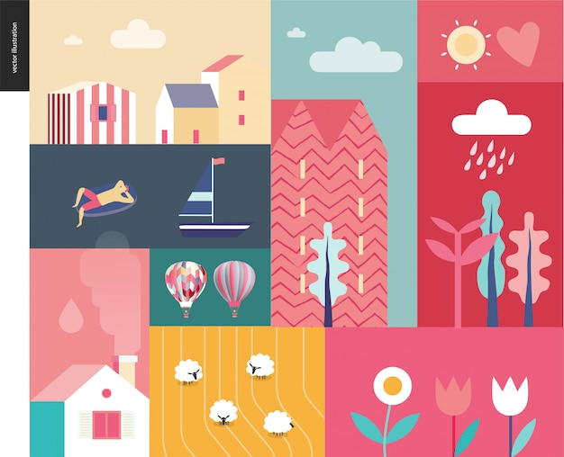 Idillic summer landscape - countryside, town, travel and vacation camp concept - collage of trees, flowers, field with sheep and lake or sea waves with sail boat and resting man on inflatable mattress