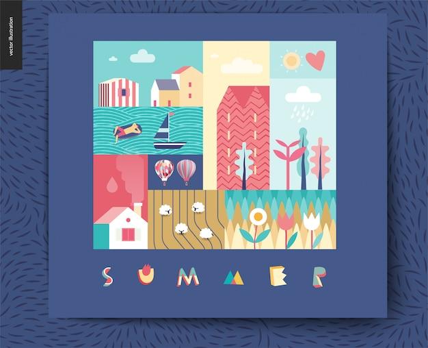 시골 여름, 마을, 여행, 휴가 캠프 개념