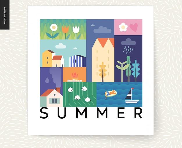 Идиллическая летняя пейзажная открытка - сельская местность