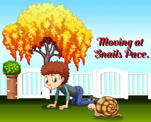 Idiom expression for moving at snails pace