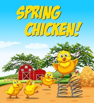 春の鶏のためのイディオムポスター 無料ベクター