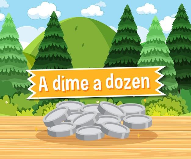 Idiom poster with a dime a dozen