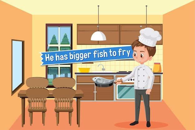 彼とのイディオムポスターは、サインを揚げるために大きな魚を持っています