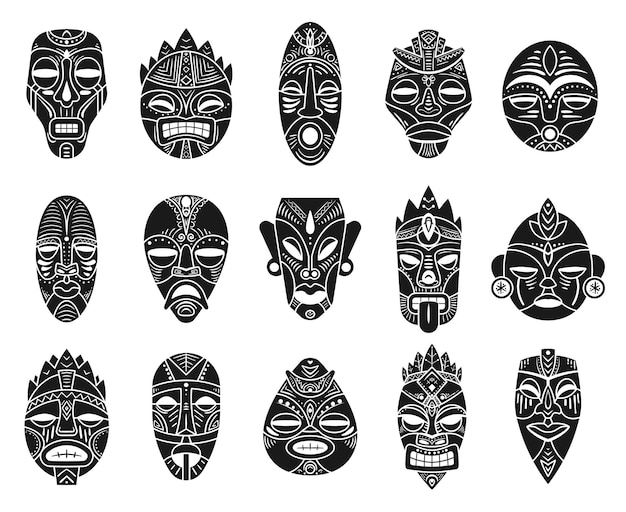 Идол-маска. монохромный черный гавайский тики таитянский ритуальный тотем, экзотическая традиционная культура античной мифологии, этнические орнаменты векторных масок. церемониальная маска африканского племени в форме человеческого лица