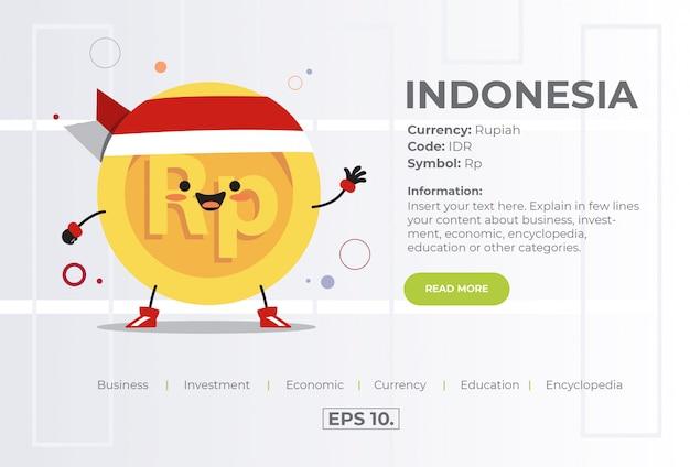 インドネシアからidrルピアのかわいいかわいいコインキャラクターイラストコンセプト。