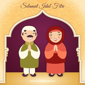 Idul fitri background with muslim couple
