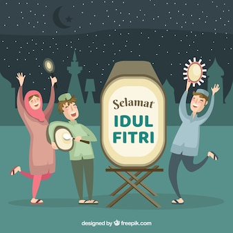 Idul fitri фон с людьми, празднующими